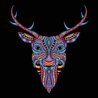 Cerf stylisé en style ethnique
