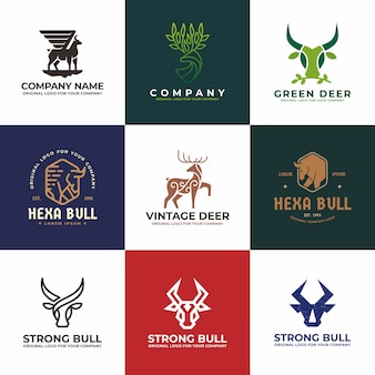 Cerf, taureau, vache, collection de logos logo buffalo.