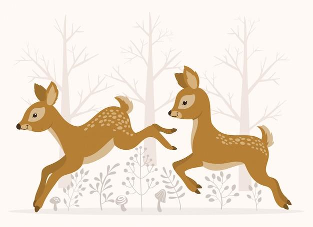 Les cerfs courent et sautent