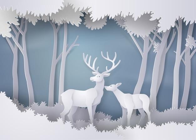Cerfs dans la forêt. art du papier et style artisanal