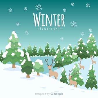 Cerfs dans la neige fond d'hiver