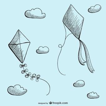 Cerfs-volants de dessin vectoriel