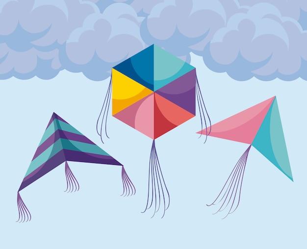 Cerfs-volants volant dans le ciel
