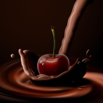 Cerise avec éclaboussure de couronne de chocolat versée