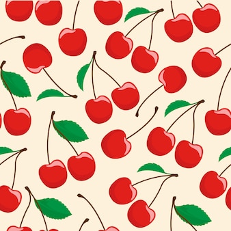 Cerise fruit seamless pattern