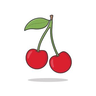 Cerises. cerise berry avec des feuilles plates. cerises fraîches fruits