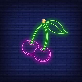 Cerises enseigne au néon.