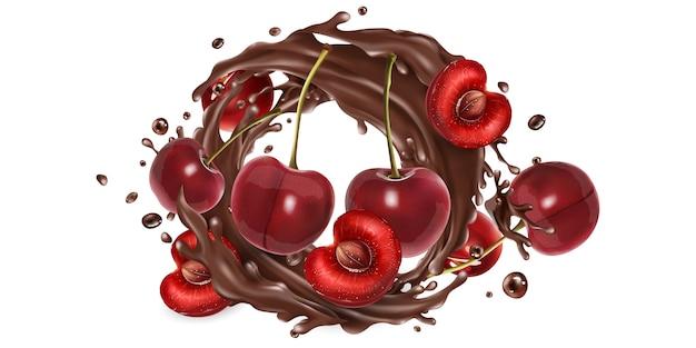 Cerises entières et tranchées dans une touche de chocolat.