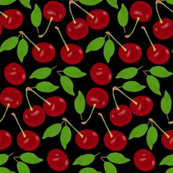 Les cerises mûres rouges sont dispersées sur un fond noir cerises rouges avec des feuilles vertes