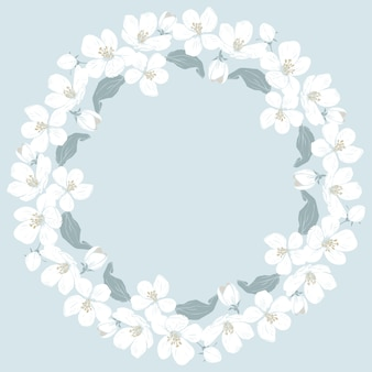 Cerisier en fleurs rond motif sur fond bleu