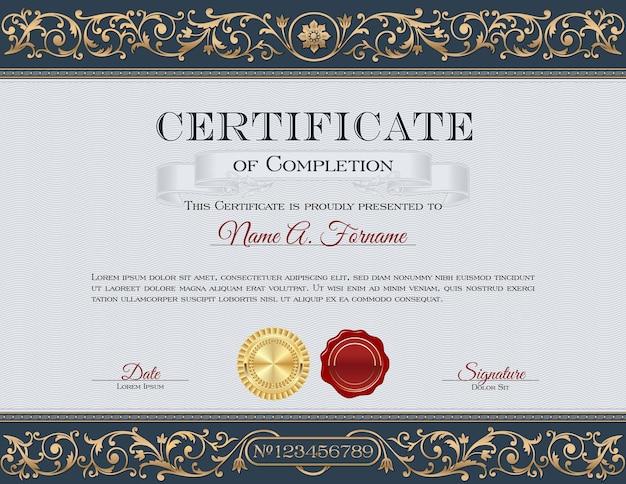 Certificat d'achèvement. ancien