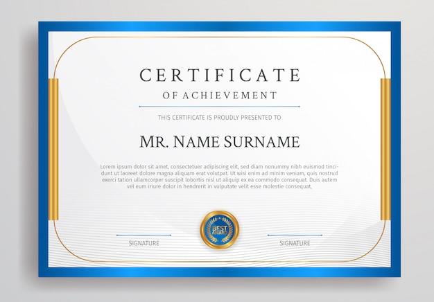 Certificat d'appréciation de couleur bleu et or avec modèle de bordure