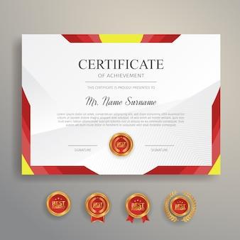 Certificat d'appréciation de couleur rouge et jaune avec badge et bordure en or
