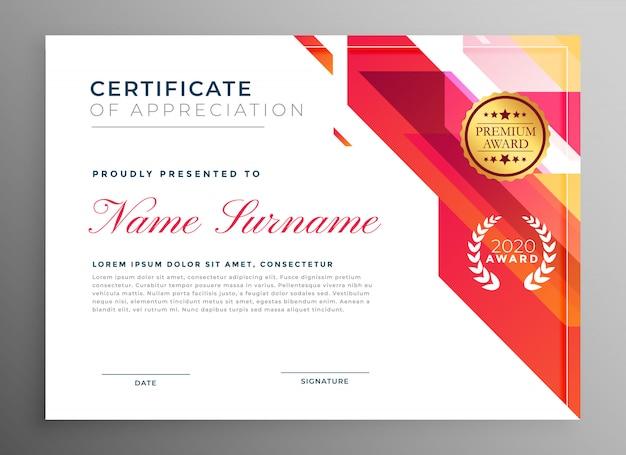 Certificat d'appréciation créative dans un style abstrait