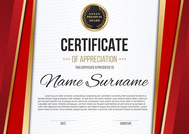 Certificat d'appréciation du certificat, diplôme de luxe.