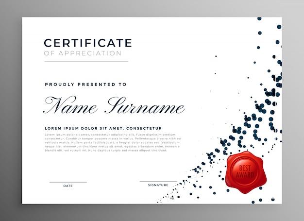 Certificat d'appréciation du diplôme abstrait