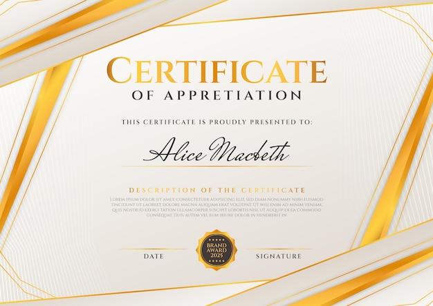 Certificat d'appréciation élégant dégradé