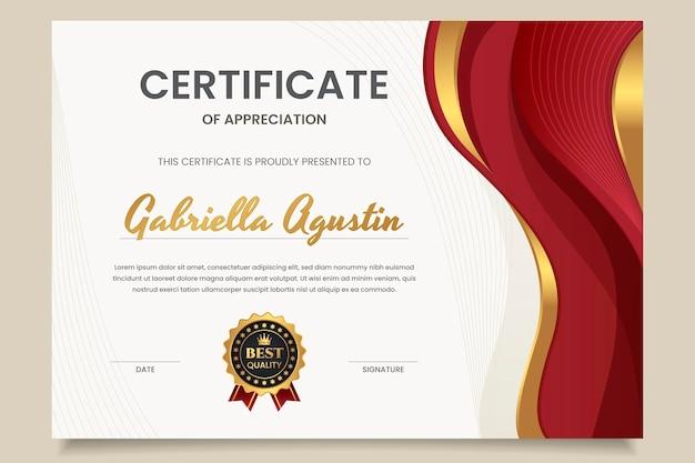 Certificat d'appréciation de luxe