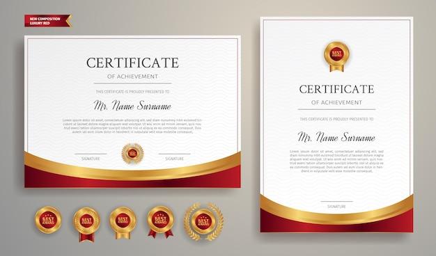 Certificat d'appréciation moderne avec bordure rouge et badges dorés