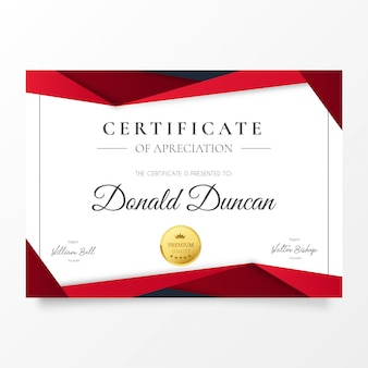 Certificat d'appréciation moderne avec des formes en papier rouge découpé