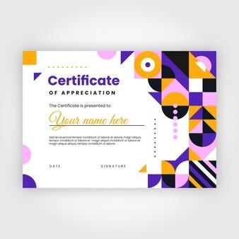 Certificat d'appréciation en mosaïque plate