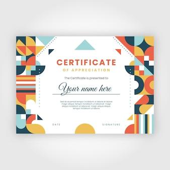 Certificat d'appréciation en mosaïque