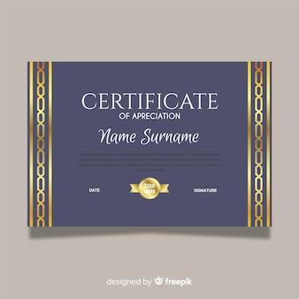 Certificat d'appréciation d'or