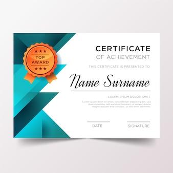 Certificat d'appréciation avec ruban d'or