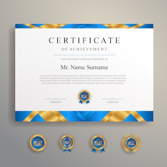 Certificat bleu et or avec badge et modèle de vecteur de frontière a4.