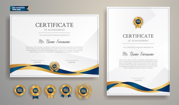 Certificat bleu et or avec modèle de badge et bordure. pour les récompenses, les affaires et les besoins en éducation