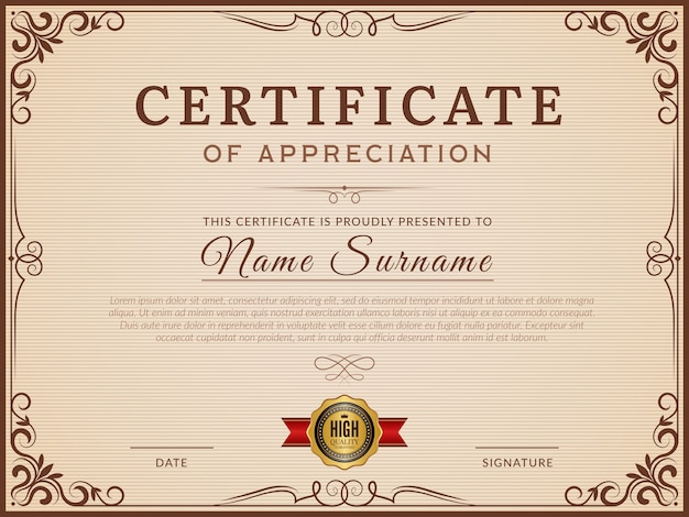 Certificat . bordures et coins décoratifs pour une mise en page de vecteur de certificat moderne. certificat avec modèle de bordure, illustration d'ornement de décoration de cadre