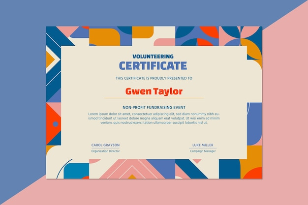 Certificat à but non lucratif de bénévolat de collecte de fonds géométrique