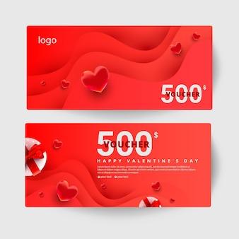 Certificat-cadeau de 500 dollars avec coffrets cadeaux surprise réalistes, décor de forme d'amour sur coupon minimal de vague.