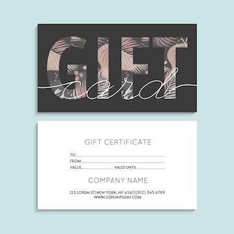 Certificat-cadeau abstrait de vecteur ou carte