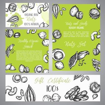 Certificat-cadeau avec croquis des noix et des graines.