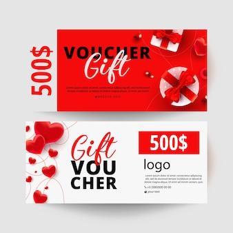 Certificat-cadeau de dollars avec des coffrets cadeaux surprise réalistes, décor de forme d'amour sur coupon minimal blanc. bon cadeau