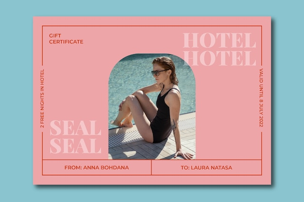 Certificat-cadeau élégant et moderne de nuits d'hôtel