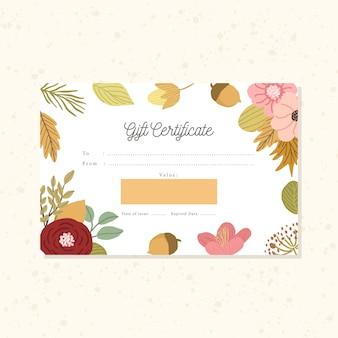 Certificat-cadeau avec fond d'automne floral