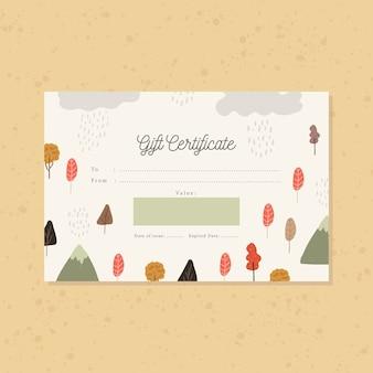 Certificat cadeau avec forêt tropicale d'automne