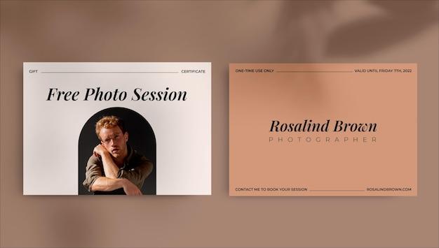 Certificat-cadeau de photographie de session élégante vintage