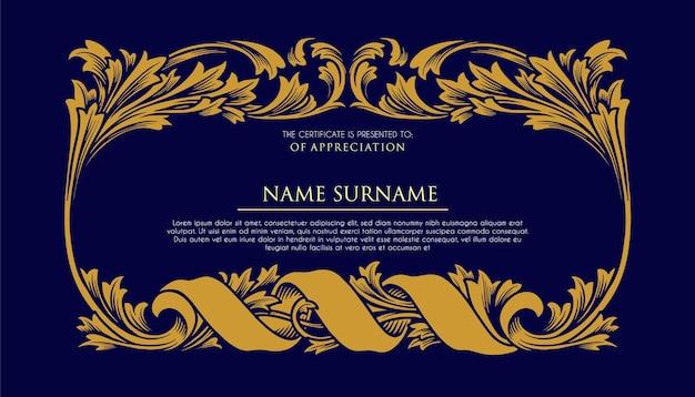 Certificat cadre ornements illustrations de luxe