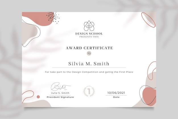Certificat de conception de prix élégant abstrait