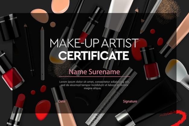 Certificat de cours d'artiste maquilleur, illustration.