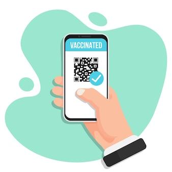 Certificat covid-19 numérique avec code qr dans un design plat. main tenant un smartphone avec des informations vaccinées
