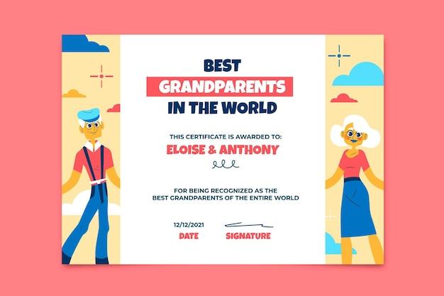 Certificat créatif coloré des meilleurs grands-parents