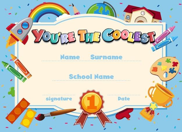 Certificat de dessin animé de motivation mignon pour les enfants