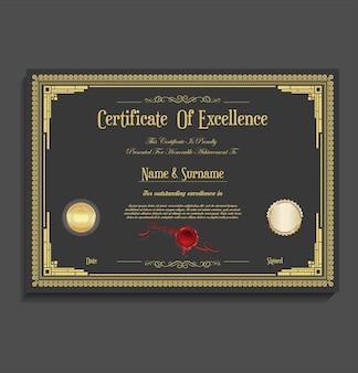 Certificat ou diplôme design vintage rétro