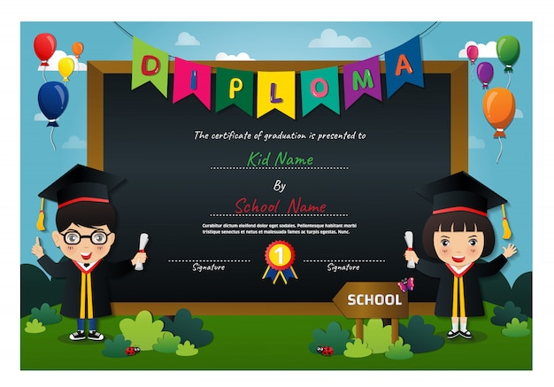 Certificat de diplôme des enfants d'âge préscolaire