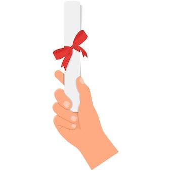 Certificat de diplôme en icône vecteur main sur fond blanc