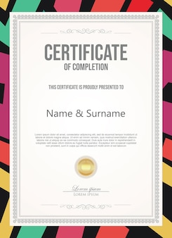 Certificat ou diplôme modèle vintage rétro